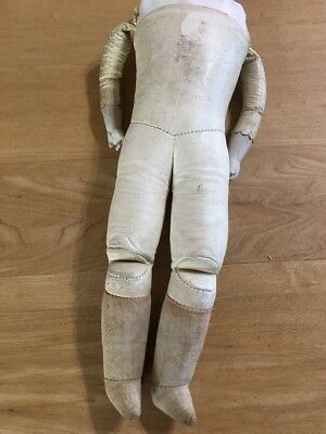 TLC Leather Antique Doll Body W/lower Bisque Arms--stamped On Top