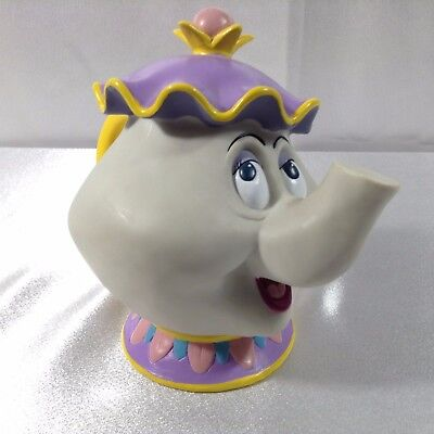Mrs Potts Teapot Disney's BEAUTY AND THE BEAST Hard Plastic Coin Bank Vintage 5""