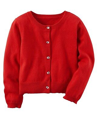 New Carter's Button Down Cardigan Red NWT 2T 3T 4T 5T 6 6X 7 8 Girls Dress Up