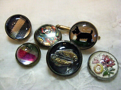 Lot Of Small Vintage Design Under Glass In Metal Intaglio Buttons/ Pisces/ Scott