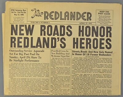 1945 THE REDLANDER Newspaper APO 957 Oahu Hawaii FDR Memorial etc.