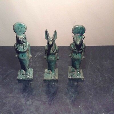 Rare Antique Ancient Egyptian 3 statue God Anubis Horus Khnum 1720-1640BC