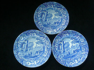 COPELAND SPODE ITALIAN  Large 6 1/2 inch Blue /White Saucers x 3