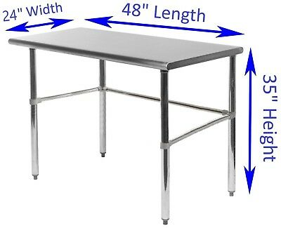 "Stainless Steel Work Table With Open Base | 24"" x 48"" 