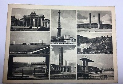 Postcard Authentic Berlin 1936 Olympics Swimming Pool Arenas Stadiums Podiums