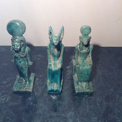 Rare Antique Ancient Egyptian 3 statue God Khnum, Anubis, Isis 1720-1640BC