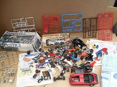 Job Lot Of A Mix Scalextric & Model Car Kit Bits Wheels Axles + Porche 911 C125