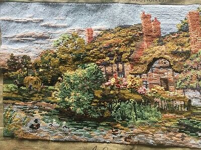Large Completed Tapestry Cottage Scene 'A Quiet Corner'