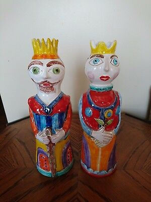 """King and Queen Desimone pottery made in Italy for Vietri 13"""""""