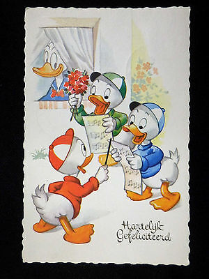 Walt Disney Donald Duck and Nephews Vintage 1950s French Frameable Art Postcard