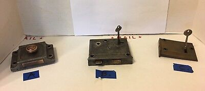 VTG Antique Metal Mortise Door Lock with Working Skeleton KEY  choice of lock