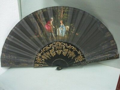 Antique hand-painted fan on silk in black a couple
