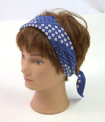 Vtg 50s TUSIDE FAST COLOR Indigo Blue Polka Dot Checkered Bandana Scarf Retro