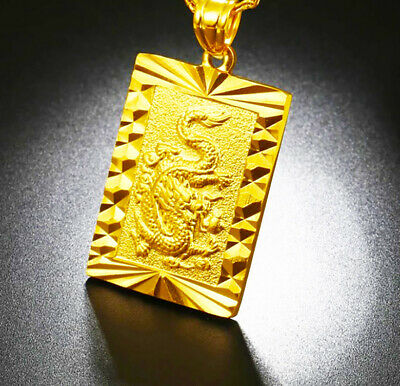 24k Gold Dragon Pendant With Chain Link Necklace +FreeGift Pouch D451
