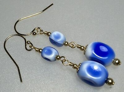 Vintage Deco Blue White Glass Bead 14ct Gold Filled Earrings #7