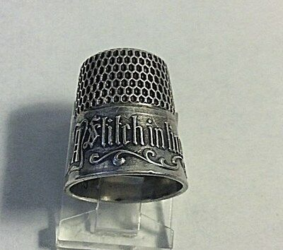"""Antique Simons Victorian Sterling Silver Thimble """"A Stitch in Time Saves Nine"""""""
