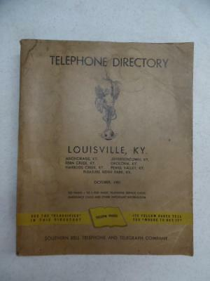 1951 Louisville Kentucky Telephone Directory Phone Book Southern Bell Vintage
