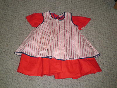"Red dress & Pinafore~ Patti Playpal or Similar 35"" Doll Handmade"