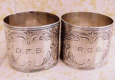 2 Watrous Sterling Silver Napkin Rings Ralph Owen Brewster Senator & Governor