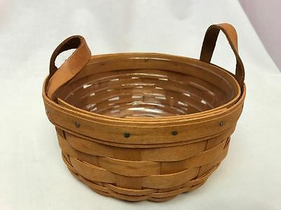 Longaberger 1993 Button Basket with Protector, Leather Ears
