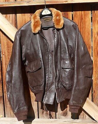 US Navy Type G-1 Leather Flight Jacket Size 44 MFG L.W. Foster , Korean Era