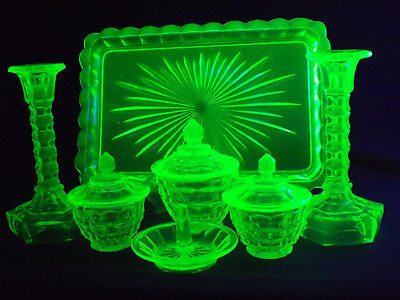 Walther Uranium Green Depression Glass 7Pce Dressing Table Set
