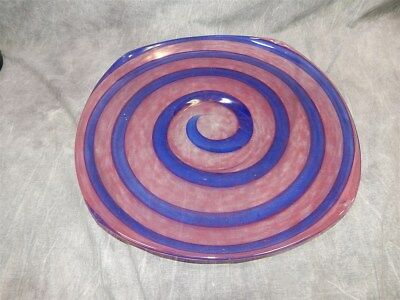 """Large 15.5"""" Schneider  Charger Plate Blue Spiral~AMAZING"""