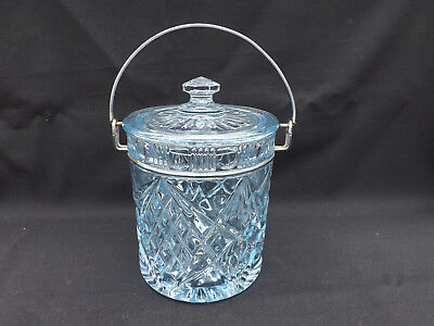 Sowerby Blue Depression Glass Lidded Biscuit Barrel