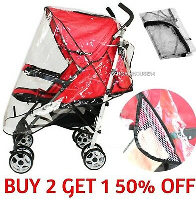 Durable Universal Buggy Pushchair Stroller Pram Transparent Rain Cover Baby
