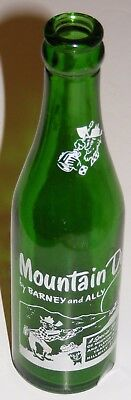 Vintage 7oz Knoxville Tennessee Mountain Dew Bottle Barney & Ally Green Glass