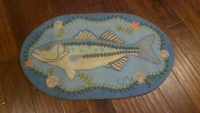 Claire Murray Rug Vintage Fish Beach Oval 100% Wool Hand Hooked NICE!