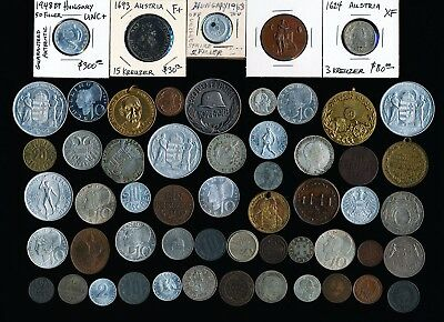 56 Old Austria Hungary & More Coins & Medals > See Pictures > No Reserve