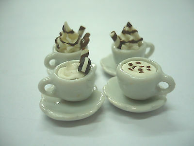 4 Cups of  Mix Coffee Dollhouse Miniatures Food Supply Deco