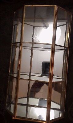Brass Glass Back Mirror Curio Display Case Cabinet 2 Shelf Footed Wall Vintage