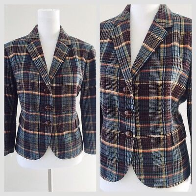 Tartan Single Blazer Jacket Size 14