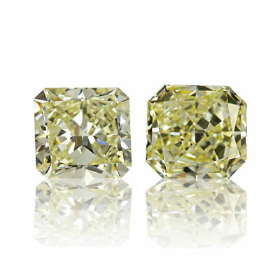 Yellow Pair Natural Diamond 0 .60 Ct Fancy Color Square Cut Real Matching 2 St