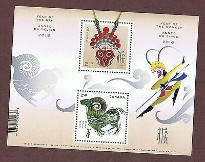 Canada Chinese Lunar New Year Of The Ram And Monkey Souvenir Stamp Sheet