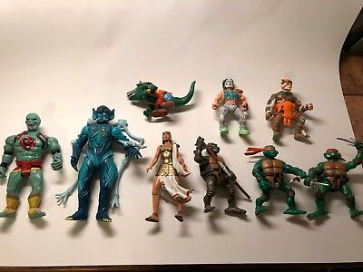 Lot of 9 80's-90's vintage action figures TMNT Thundercats Power Rangers DC