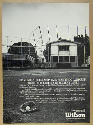 1988 George Brett el segundo field photo Wilson Baseball Gloves vintage print Ad