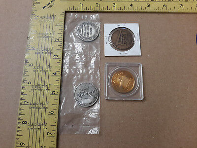 4 Rare In-N-Out Burger Free Burger Tokens Coins Silver Bronze Tone 1978 1986