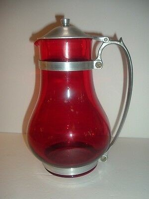 Vintage Ruby Red Glass Coffee Pot