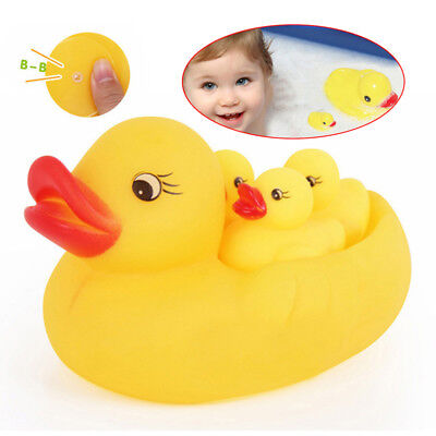 4PCS Mini Yellow Bathtime Rubber Duck Ducks Bath Toy Squeaky Water Play Kids