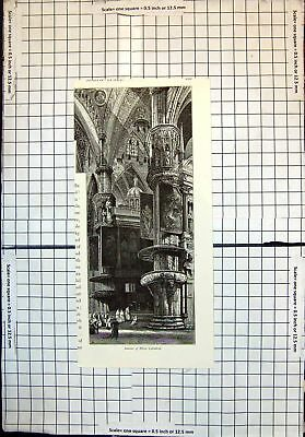 Old Antique Print Interior Milan Cathedral Monks Architecture 433J712
