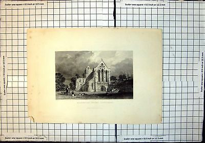 Old Antique Print Front View Llanercost Priory Cumberland 419J712