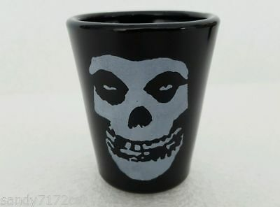 Glass Shot 2004 Misfits Logo 1 Black with White Skull 2 Oz Cordial