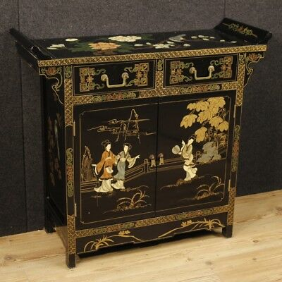 Cupboard chinese furniture wood painted lacquered antique style 2 panels