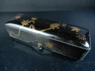 J1900: Japanese Wooden Lacquer ware LETTER BOX Fumibako Calligraphy tool