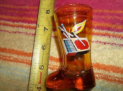Mini Four Inch German Style Boot Shotglass Match Holder Painted Matches On Front