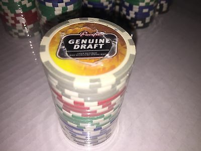 Pacific Genuine Draft Beer Promo Poker Chips One Sealed Roll 20 Chips Nice 1 New