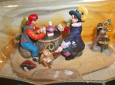 bucaneers playing poker table accent figurine monkey spooky town collection
